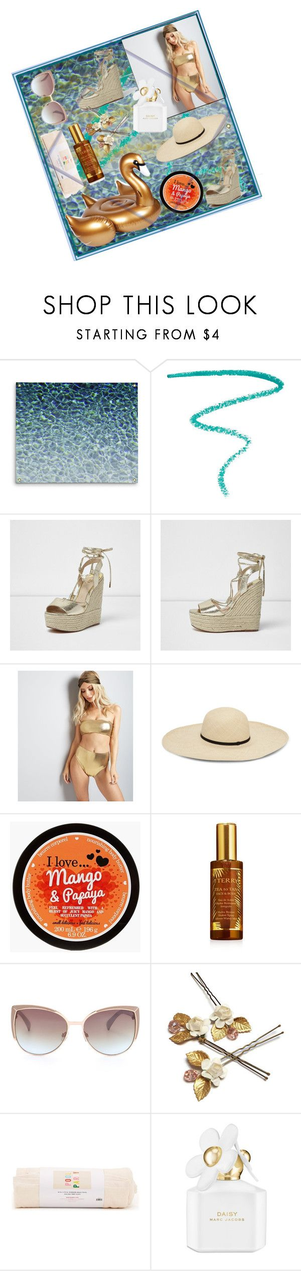 """""""Pool Party"""" by spookie1 ❤ liked on Polyvore featuring Marc Jacobs, River Island, Sunnylife, New Look, By Terry and ban.do"""