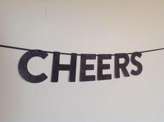 CHEERS Glitter Mini Banner for party wedding by CreativePapier, $12.00