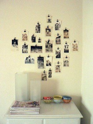 Display photos with binder clips