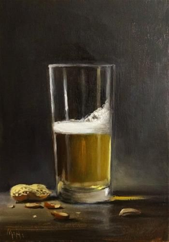 "Daily Paintworks - ""Glass of Beer with Peanuts"" by Mary Ashley"