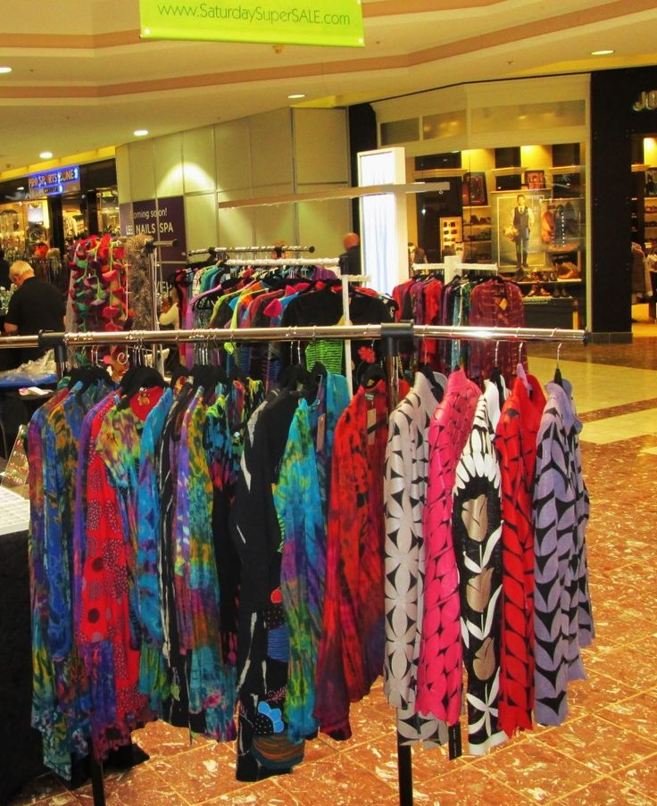 Tie-dye to the left and leather to the right, these tops and jackets will add a little color to your life. PDS Boutique clothing @ The Laurel Park Place Mall Crafts show