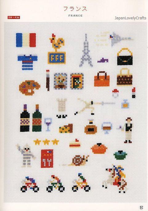 My Cross-Stitch 500 by Makoto Oozu - Japanese Embroidery Pattern Book - Kawaii World One-Point Motif - B831