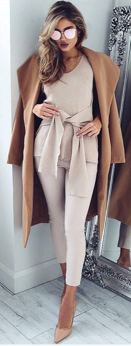 camel coat / khaki jumpsuit /nude high heels