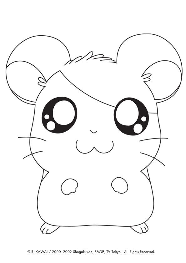 A Hamster Drawn From The Cartoon Hamtaro To Color Cartoon Color Drawn Hamster Hamtaro Cute Coloring Pages Animal Coloring Pages Coloring Pages