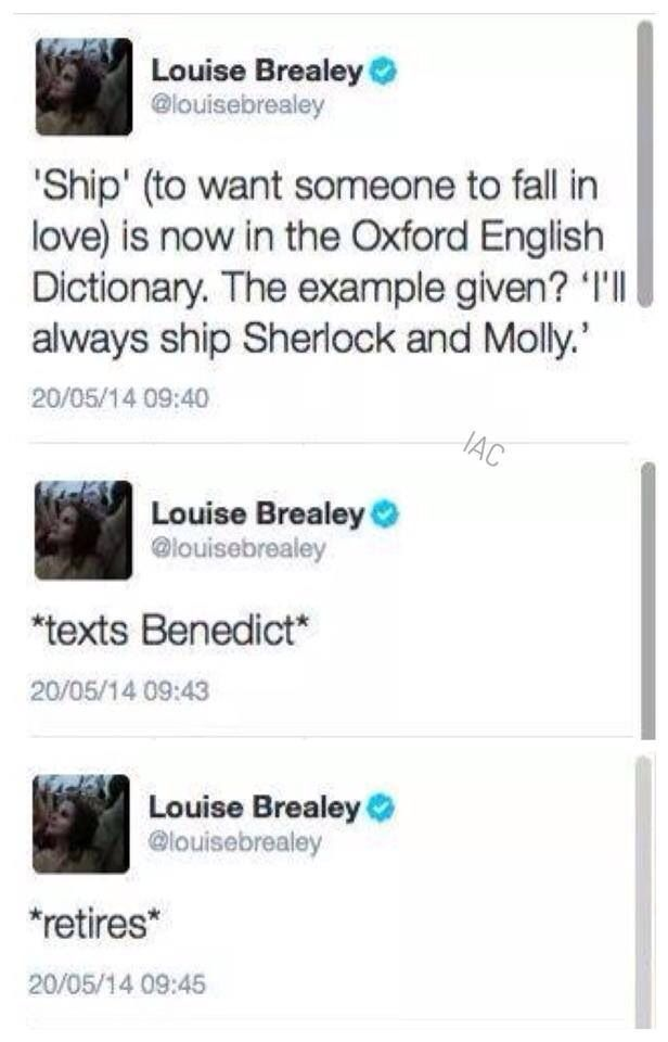 Louise's (Molly Hooper on BBC's Sherlock) tweets. Even the dictionary ships Sherlock and Molly! :) YES!!!