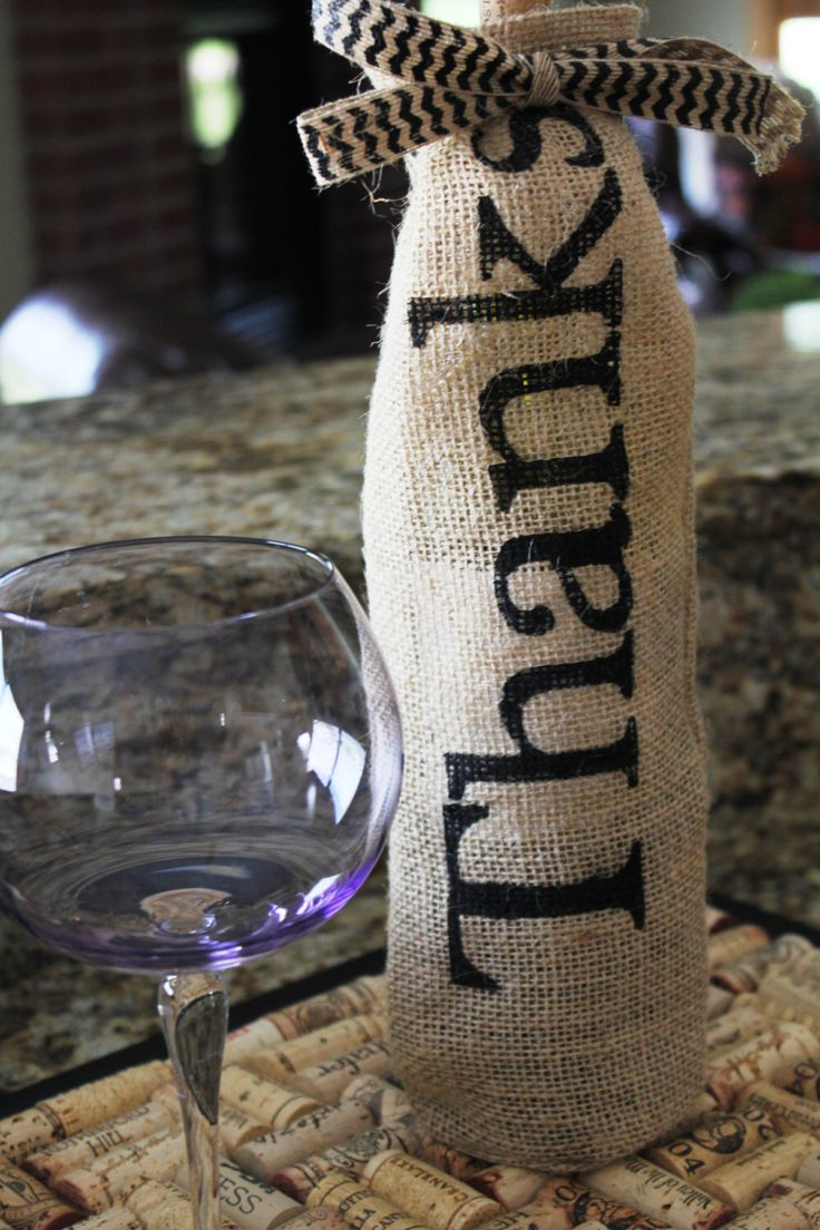 Printed Burlap Wine Bottle Bag by KelsCozyCorner on Etsy https://www.etsy.com/listing/160210200/printed-burlap-wine-bottle-bag