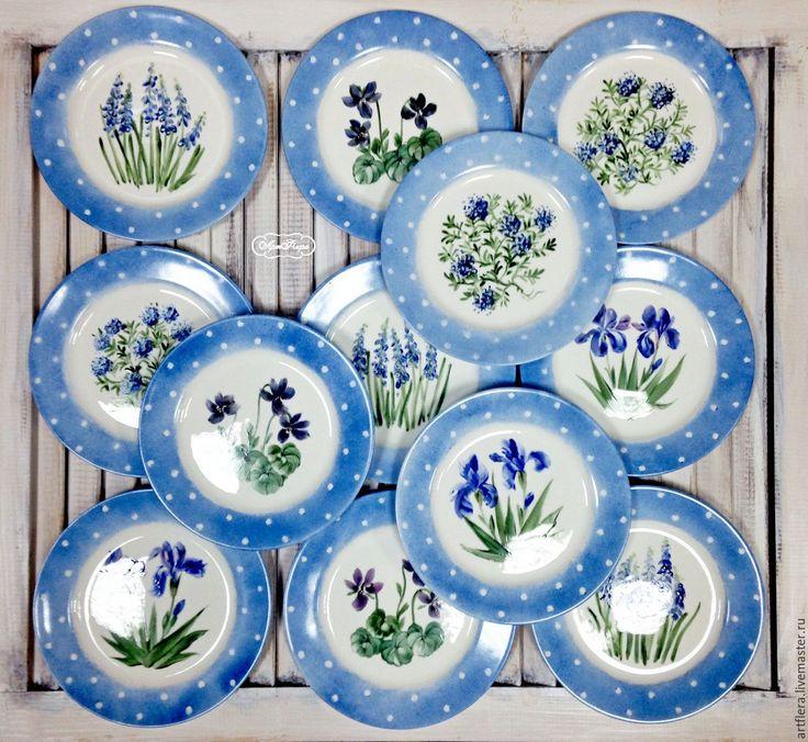 """Купить Набор тарелок """"Синенькие в горошек"""" 4 шт. - тарелки, набор для кухни, набор посуды"""