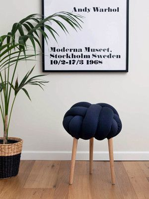 dark blue knot stool by knots studio