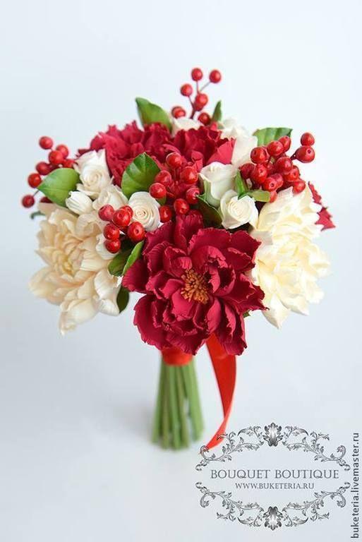 Свадебные цветы ручной работы. Ярмарка Мастеров - ручная работа Свадебный букет невесты из полимерной глины. Handmade.