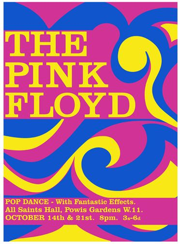 We have three interesting early Pink Floyd posters for you this week. The first is from 1966, and is for one of their formative shows at the All Saints Hall in London's Powis Gardens.