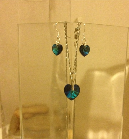 Blue Swarovski 10 mm hearts with sterling silver chain and metal ware  Earrings and necklace set ... Sold for £12