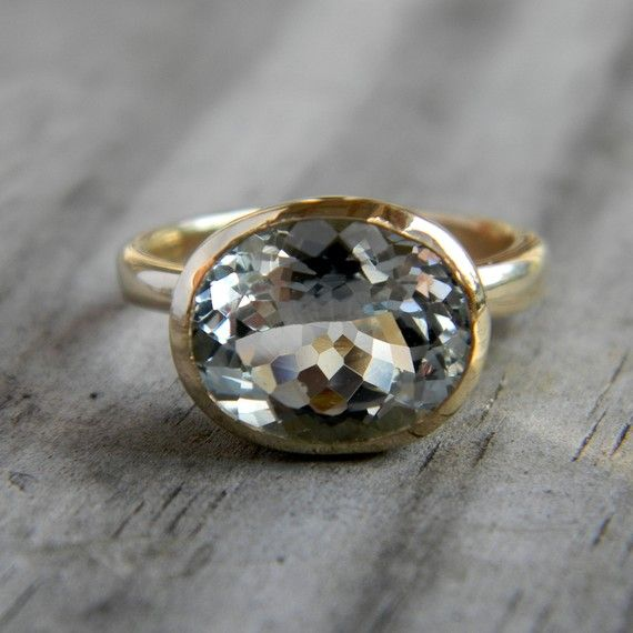 Aquamarine and 14k Yellow Gold Ring, Custom Made to Order.  onegarnetgirl
