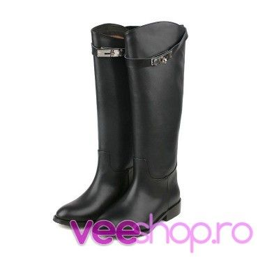 Cizme negre de calarie, cu toc scurt, cizme din piele naturalacu catarame elegante