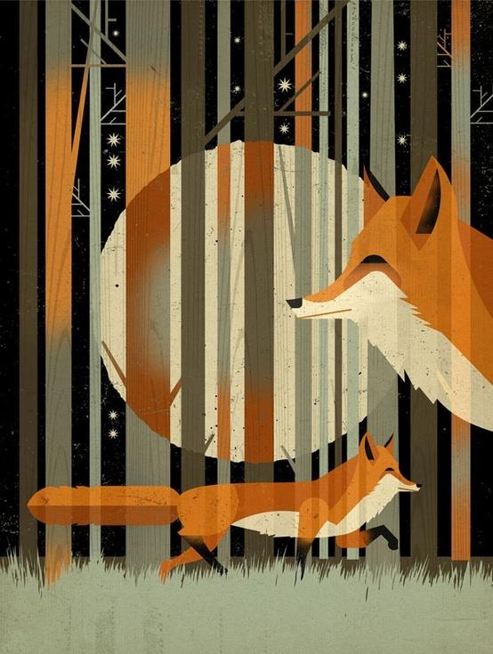 Foxes modern print
