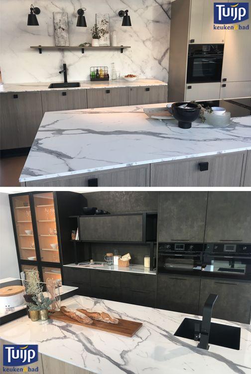 De #keukenbeurs is weer bezocht. De #marmerlook is nog steeds volop aanwezig! Hoe vind jij zo'n look werkblad? Kijk voor meer keukens eens op: http://tuijpkeukenenbad.nl/keukens/keukens-op-maat #Tuijp #keuken #bad #volendam
