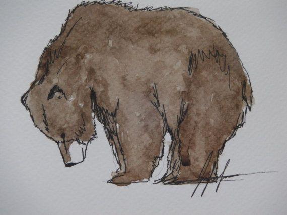 """Bear watercolour painting - """"chocolate"""" - original animal drawing - watercolour - bear art"""