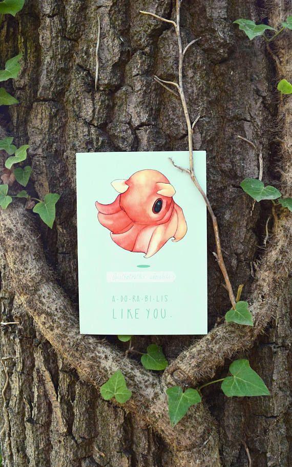 Adorable Octopus Card | Biology Art | Watercolour | Love Card | Animal Card | Deep Sea Life | Geeky | Illustration | Science | Nerd Love