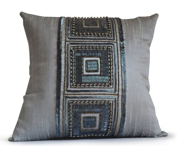 Throw Pillow Cover Grey Silk Pillow Gray Silk Bead by AmoreBeaute