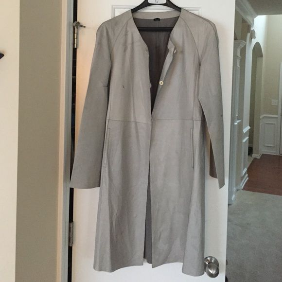 Giorgio Armani Leather Jacket Luxurious leather jacket, women's size 42, soft gray color, few little spots and stains Giorgio Armani Jackets & Coats