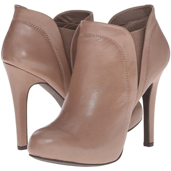Jessica Simpson Acey (Slater Taupe Echo Burnish) High Heels ($96) ❤ liked on Polyvore featuring shoes, boots, ankle booties, taupe, platform boots, platform bootie, taupe booties, faux-fur boots and high heel boots