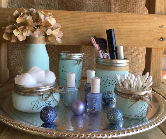 Cosmetic Set Aqua Mason Jars Flower Vase by VintageDaisyHome
