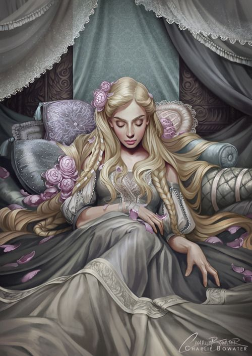 charliebowater:  Back when I painted my Snow White piece I hinted I might turn it into some sort of Fairy Tale series… and so I guess I am! My take on Sleeping Beauty. I had oodles of fun with all of those patterns, not quite so sure my hand did…Limited Edition hand signed prints are available through my Etsy; https://www.etsy.com/uk/listing/160028473/sleeping-beauty-limited-edition-fine-art Photoshop CS5  Wacom Intuos 5.