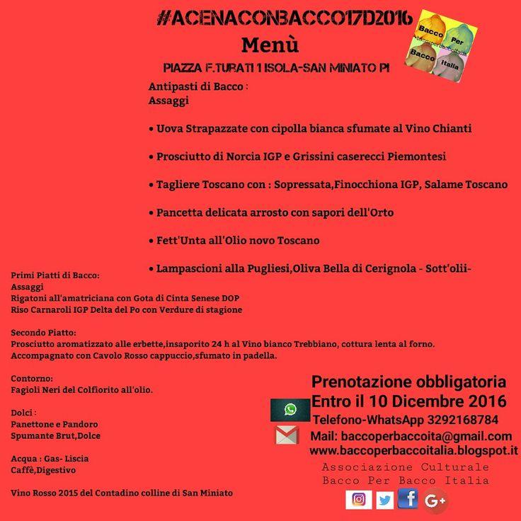 Menù: #AcenaconBacco17D2016  Isola-San Miniato PI