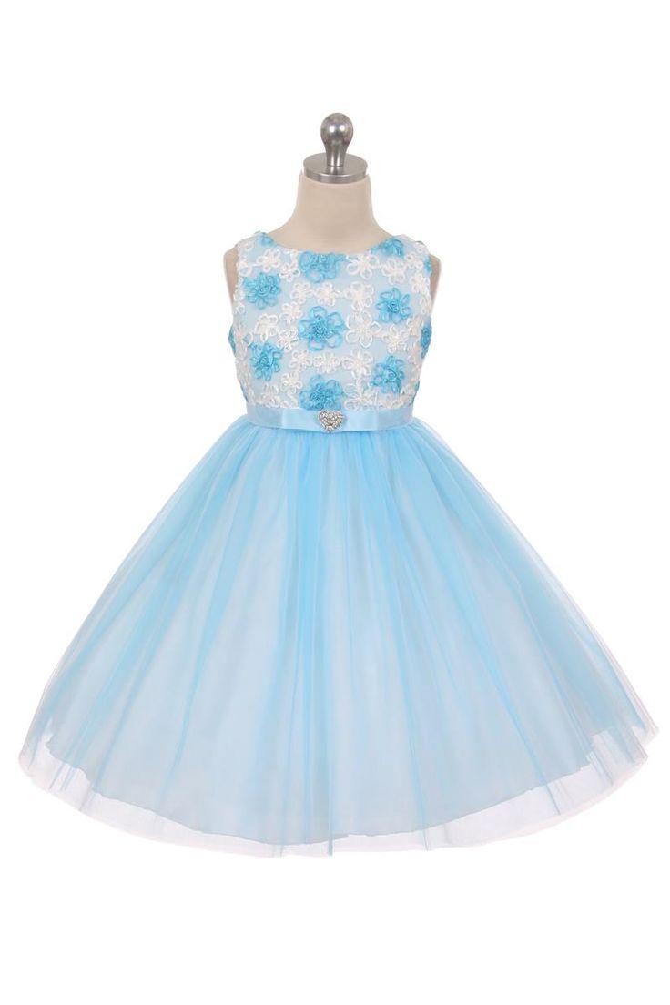 Feestjurkje voor kinderen, Elise. baby blauw jurkje met rozetjes op het lijfje en tule rok. Ook in het licht roze verkrijgbaar