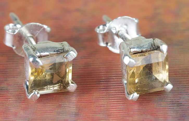 Stud Earrings – 925 Silver Faceted Citrine Stud BJS-128-CTC – a unique product…