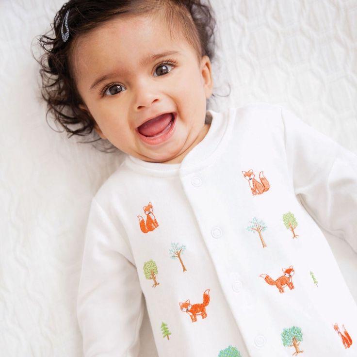 Fox Embroidered Baby Sleepsuit | JoJo Maman Bébé