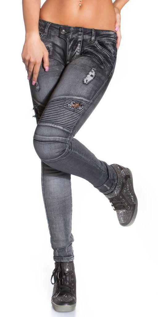 Svarta jeans KouCla biker look