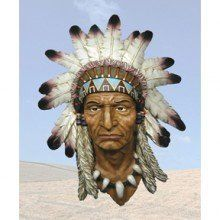 """""""Chieftan"""" Indian Bust Westrn Indian Decorative Wall Hanging by AAW. $75.99. H8.75'' x L16.5'' x W21.5''. Indian Bust. Native Indian Gift. Made of Poly Resin Material. Indian Cheif Head Wall Hanging. Indian Bust Indian Chief Head Wall Hanging Native Indian Gift H8.75'' x L16.5'' x W21.5'' Made of Poly Resin Material."""