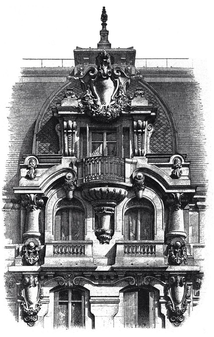 Apartment house in Paris. Boulevard Denain. Architects Lebas & Dupart. The architecture of the second half of the XIX century. Drawings and sketches.