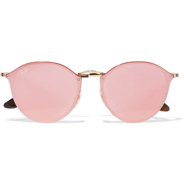 Ray-Ban Round-frame gold-tone mirrored sunglasses ($195) ❤ liked on Polyvore featuring accessories, eyewear, sunglasses, glasses, pink, mirror sunglasses, round tortoise sunglasses, tortoiseshell sunglasses, pink sunglasses and pink mirror sunglasses
