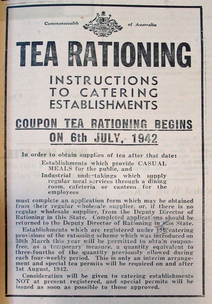 """""""Government notice that appeared in The North Midland Times newspaper on 10 July 1942 advising of tea rationing."""" Posted on bookshopsdriveinsandjive.com by Christie Cantrell."""
