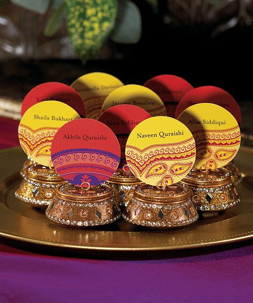 Indian Wedding Placeholders...you have to see this site e everthing you thought of and things you didn't