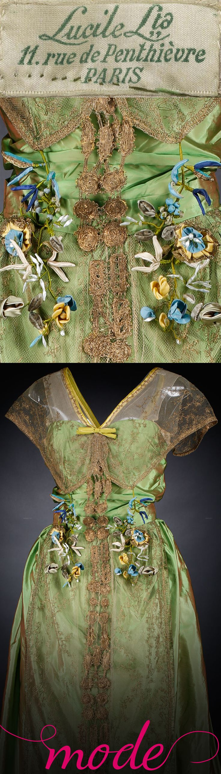 This gorgeous post-war evening dress from Maison Lucile captures the spirit of the age and the soul of its wearer, while the fresh spring colour signifies hope.  Find out more about this dress and many more at http://www.nms.ac.uk/mode. Mode is your personal, portable guide to the new Fashion and Style gallery at the National Museum of Scotland. Luxuriate in couture details with close-up images and 360 views, and discover sumptuous fabrics, bespoke craftsmanship and cutting-edge style.
