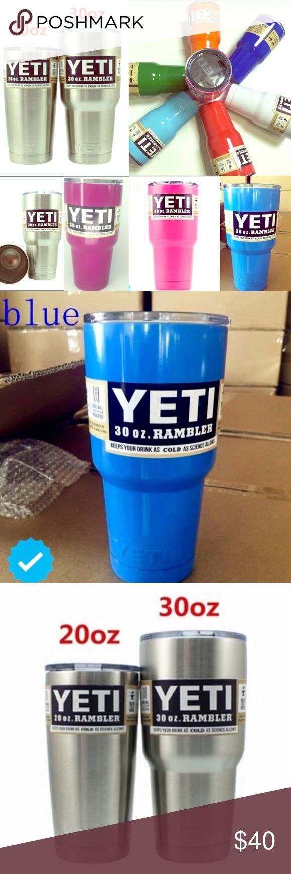 REAL Yeti Ramblers- 20 OZ or 30 OZMULTI COLORS CHOOSE ANY OF THE AWESOME BRAND NEW YETI RAMBLER CUPS ABOVE6 BEAUTIFUL COLORS TO CHOOSE FROMORDERS INCLUDE SUPER CUTE FREE GIFTS FROM TARGETWAREHOUSE SHIPPING TAKES AT LEAST 2 WEEKS SO IF ANYONES INTERESTED LET ME KNOW AHEAD OF TIME TO ALLOW DELIVERYORDERS WILL SHIP SAME DAY ONCE THEY ARRIVEBUNDLE FOR DISCOUNTS: 3 GET 15% OFF, 2 GET 10% OFF!GREAT DEAL, THESE COST $60+ DOLLARS NOW IN RETAIL STORES, HERE ONLY $40!!COME CHECK OUT MY CLOSET NOW AND…
