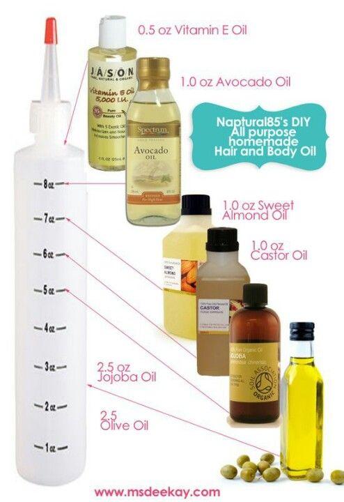 Umectação com cinco óleos naturais.  15ml de vitamina E (óleo); 30ml de óleo de abacate; 30ml de óleo de amêndoa; 30ml de óleo de rícino; 75ml de óleo de jojoba; 75ml de azeite de oliva.