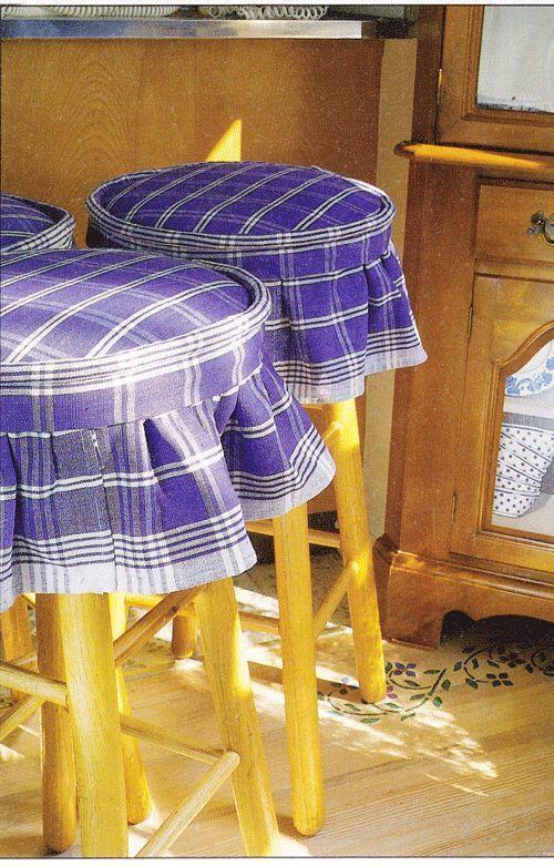 Dishtowel stool covers at http://InMyOwnStyle.com