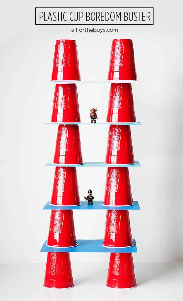 Plastic cups can be used for all kinds of fun, including stacking games.