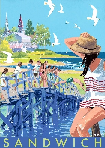 Cape Cod - Sandwich, Mass retro vintage illustration of summer and swimmers at the shore such pretty blues and greens with girl in hat