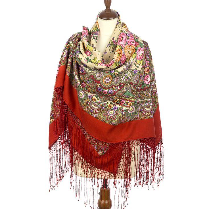 Pavlovo Posad Shawl «Slavyanka» - Shawl of the compacted wool with silk fringe | eBay