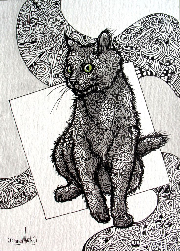 this curious cat is full of design! enjoyed doing this kitty too!