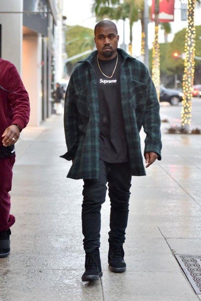 Kanye West wearing  Faith Connexion Oversized Shirt, Adidas Yeezy Boost 750 Season 2 , Supreme Black Box Logo Tee, Acne Ace Cash Jeans