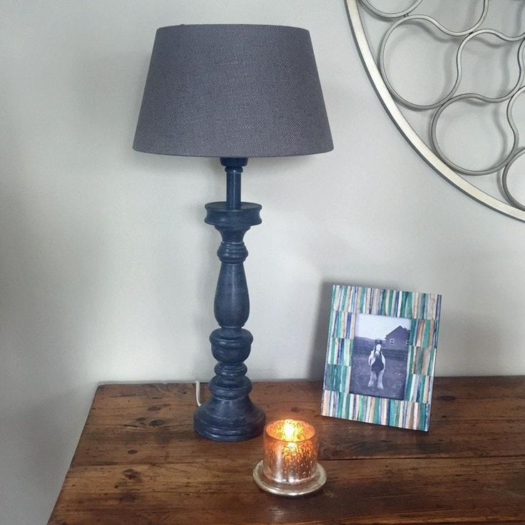 Distressed Grey Wash Wooden Table Lamp
