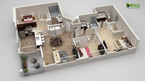 Yantram Animation Studio recognize and deliver the most advanced 3D Interactive Floor Plan Models of your Real estate properties.