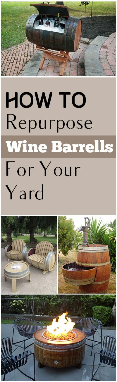 Wine barrels, things to do with wine barrels, DIY wine barrel projects, repurpose projects, popular pin, yard and landscaping, outdoor entertainment, outdoor decor, DIY outdoor decor.