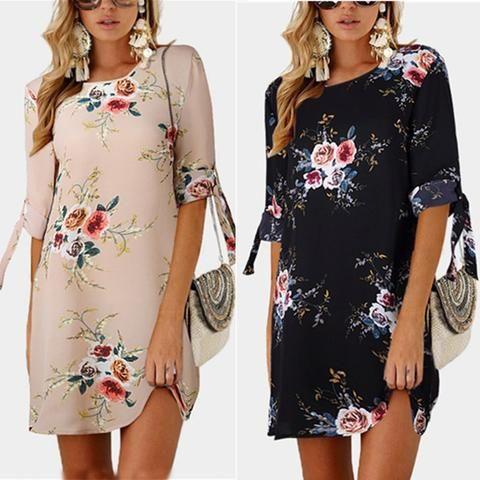 7d667757e3c18 2018 Summer Beach Dresses Women Chiffon Dress Casual Bow Tie Half ...