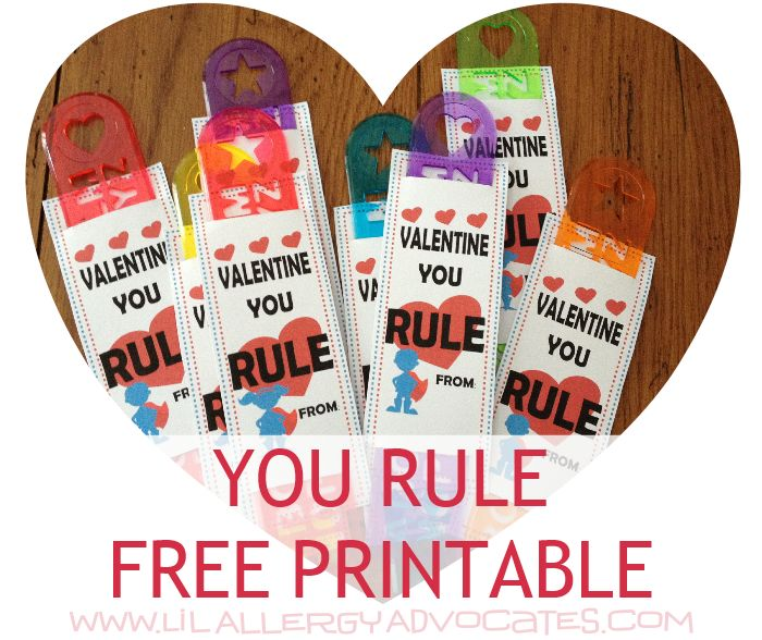 You Rule Valentine! Free printable for kids food free, no ...